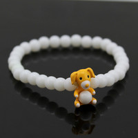 Adorable Dog Charm Bracelet (White)