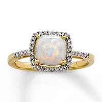 Lab-Created Opal Ring 1/10 ct tw Diamonds 10K Yellow Gold