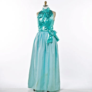Vintage Dress 70's Barbie Doll Style Sparkle Aqua Goddess Taffeta and Lame Evening Gown size Small