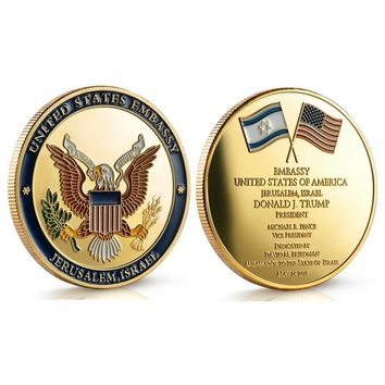 United States Embassy in Jerusalem Israel Challenge Coin - Dedicated May 14, 2018