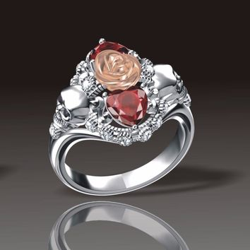 ERLUER Gothic Skull Flower Rose Rings For Women Girls Silver Plated Austrian Crystal CZ Luxury Jewelry Punk Fashion Gifts Ring