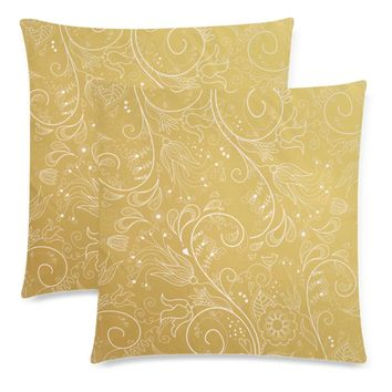 """Gold Floral Throw Pillow Covers 18""""x 18"""" (Set of 2)"""