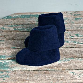 Navy blue polar fleece warm winter baby booties boots uggs style handmade 3 -6m pram c