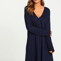 NAVY V NECK SWING TEE DRESS