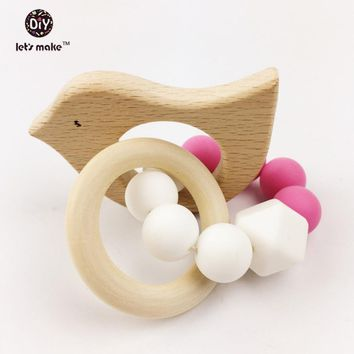 Wooden Baby Bracelet Animal Shaped Jewelry Teething Organic Wood Silicone Beads