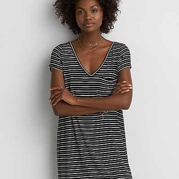 AEO Striped Cross-Back Dress, Black
