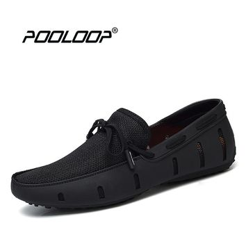 POOLOOP Durable Mens Lace Loafers SWIMs Casual Beach Shoes Breathable Driving Shoes For Men Penny Loafers Mesh Comfortable Shoes