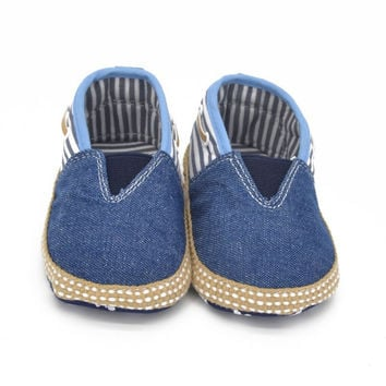 Newborn Baby Boy Girl Canvas Jeans Denim Soft Sole Crib Shoes Walking Shoes Slip-On First Walker 0-18M Lisa's Store NW