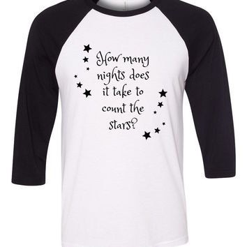 "One Direction ""Infinity - How many nights does it take to count the stars?"" Baseball Tee"