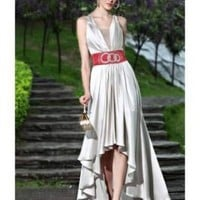Sheath V-neck Beaded High Low Hem Prom Dress [dressca7780] - £89.11 : dressca.com!, custom made wedding dresses