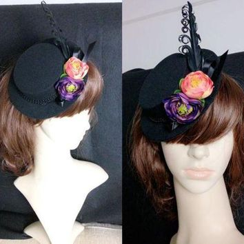DCCKH6B Goth Steampunk Costume Gothic Lolita Black Feathers Flower Mini Top Hat