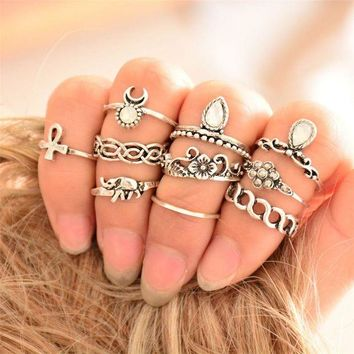 ac spbest 10 Pcs/lot Tribal Ethic Hippe Stone Joint Finger Rings Set for Women Moon Flower Elephant Pattern Punk Style Knuckle Ring