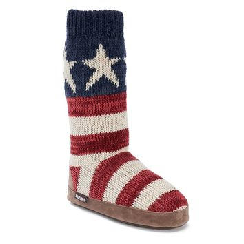MUK LUKS Vanessa Old Glory Women's Bootie Slippers (Red)