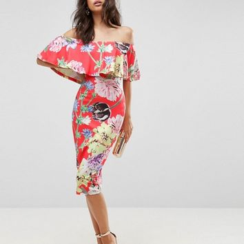 ASOS Floral Ruffle Bardot Off Shoulder Midi Dress at asos.com