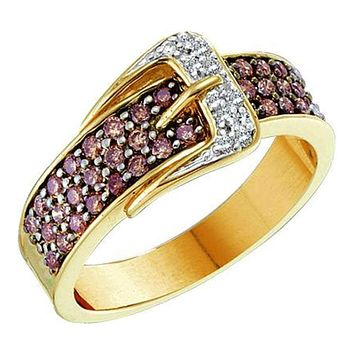 14kt Yellow Gold Women's Round Cognac-brown Color Enhanced Diamond Belt Buckle Band Ring 1/2 Cttw - FREE Shipping (US/CAN)