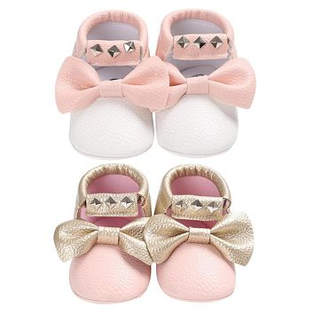 Baby Shoes Moccasins Baby Soft Artificial Leather Tassel Shoes Toddler Kids Girls Bow First Walkers