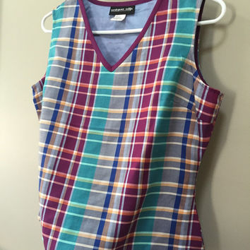 Silk Sleeveless Blouse, Plaid Silk Top, V Neck Tank Top, Teal Maroon Plaid Silk Shirt, Vintage 80s Top, Purple Plaid Tank Top, 8 M