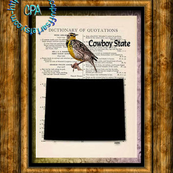 WYOMING State Black Silhouette Art, State Bird, State Nickname - Vintage Dictionary Page Art Print Upcycled Page Print