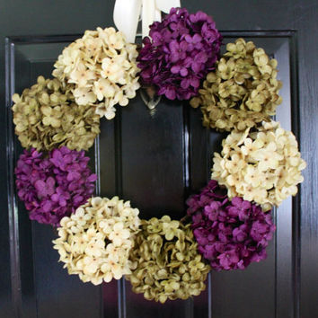 Dried Hydrangea Wreath, Christmas Wreath, Front Door Wreath, Monogram Wreath, Dried Flower Wreath, Thanksgiving Wreath, Home Decor