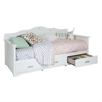 Twin size Kids Bed Daybed in White Wood Finish with 3 Storage Drawers