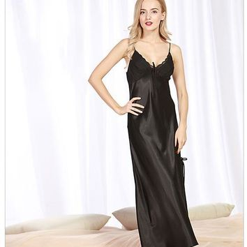 Women's Sexy Lingerie Satin Silk Night Dress Print Sleepwear Nightgown Long Summer Lace Dress