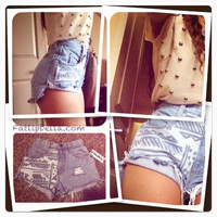 denim tribal aztec print vintage high waist shorts by FatLipBella