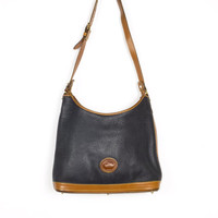 vintage DOONEY & BOURKE leather shoulder bag - all weather - pebble grain purse - navy blue + british tan - authentic - medium / large