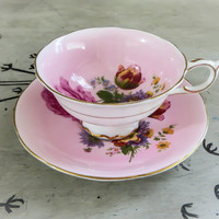 Tea Cup PInk Floral Tea Cup Paragon Bone China Teacup Porcelain Tea Cup Pink Teacup Rose Tea Cup Housewarming Gift Vintage Teacup
