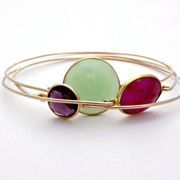 Lime Green Chalcedony Gold Filled Bangle Bracelet - Stackable Wire Gemstone Bangle - 14K Gold Filled Bezel Set Chalcedony