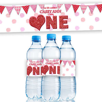 Personalized 1st birthday Water Bottle Labels - Valentine Sweetheart Party Bottle Wrappers 1st Birthday Girl Party Favors Heart Red glitter