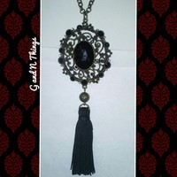 Victorian goth style long pendant necklace