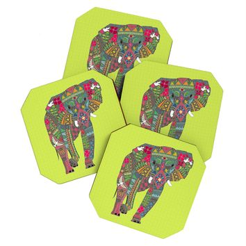 Sharon Turner Painted Elephant Chartreuse Coaster Set