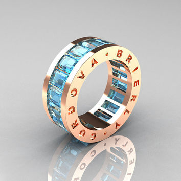 Mens Modern 14K Rose Gold Aquamarine Channel Cluster Infinity Wedding Band R174-14RGAQ