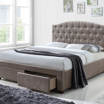 Acme 25670Q Denise mink fabric tufted under bed storage drawers queen bed set