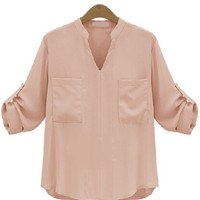 Apricot V-Neckline Folded Long Sleeve Blouse