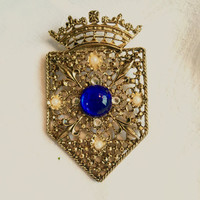 Vintage Crown and Shield Brooch Fleur de Lis Crown Pin Heraldic Jewelry