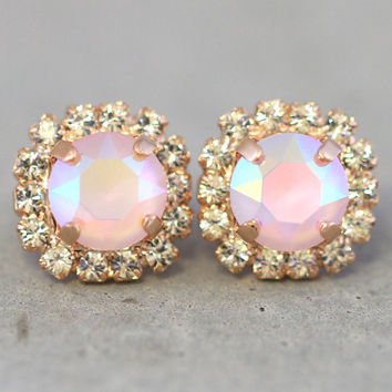 Pink Crystal Earrings,Pink Powder Swarovski Earrings,Pink Blush AB Crystal Earrings,Bridesmaids Pink Earrings,Pink Rose Gold Swarovski Studs