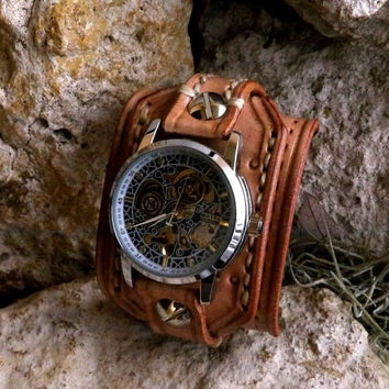 Steampunk Leather Wrist Watch, Men's watch, Leather Cuff, Bracelet Watch, Watch Cuff, Mens Gift, Anniversary Gift, Pearl