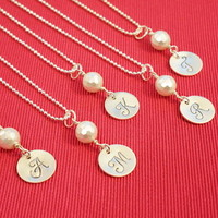 White Faceted South Sea Shell Pearl Cursive Initial Necklace by Charmed Elements Jewelry