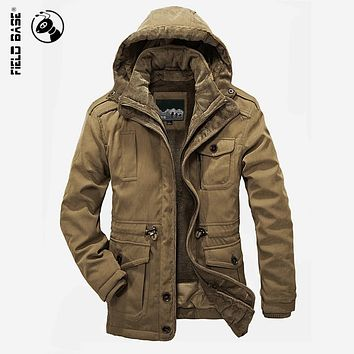 Field Base Winter Jacket For Men Windproof Solid Cotton Hooded Velvet Thick Warm Coat Male Brand Plus Size Parkas 4XL
