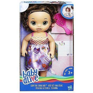 Baby Alive Ready For School Baby Doll (Brunette) NEW