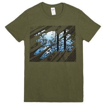 M.C. Escher Puddle Tracks Art Print Licensed Adult Unisex T-Shirt - Green - S