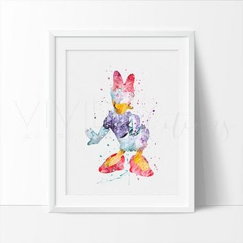 Daisy Duck Watercolor Art Print