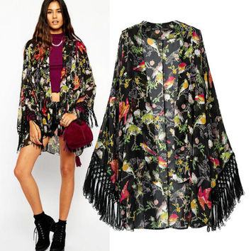 Stylish Print Tassels Chiffon Women's Fashion Scarf Jacket [5013131332]