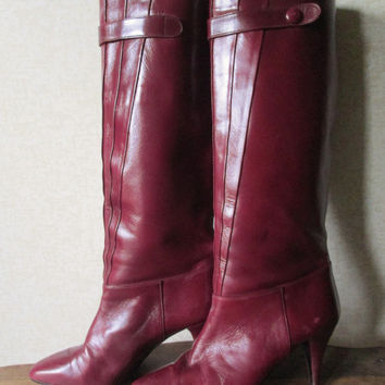 Tall Boots Spanish Leather oxblood burgundy dark red high spike heels elegant classic high fashion hipster women size 7 vintage 70s