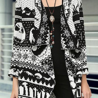 Black and White Abstract Face Print Cardigan