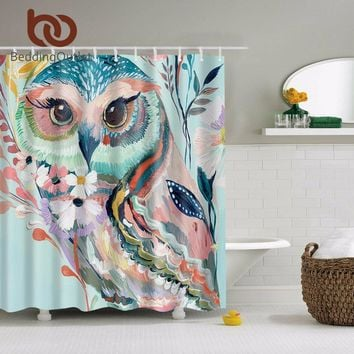 BeddingOutlet Watercolor Owl Shower Curtain Polyester Animal Print Shower Curtain Waterproof 180cmx180cm Home Decor With Hooks