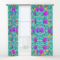 Season for roses and polka dots Window Curtains by Pepita Selles