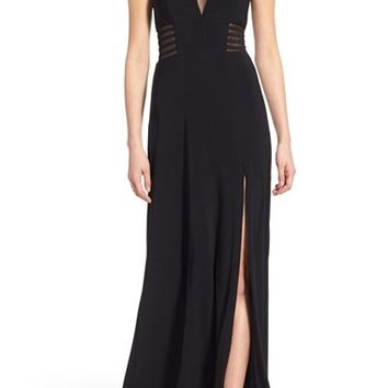 Morgan & Co. 'Jamie' Illusion V-Neck Gown | Nordstrom