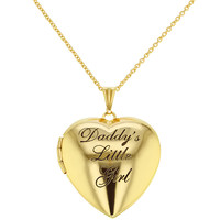 "Gold Tone Photo Heart Locket Pendant 19"" Necklace "" Daddy's Little Girl"""